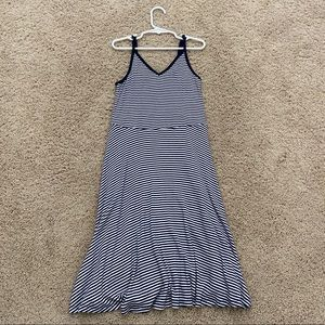 Navy and white striped sun dress women's small